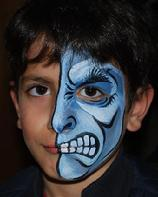 Blue Monster Face Painting