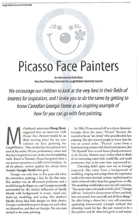 Laugh Makers Magazine, Face Painting Article, Picasso Painters, Toronto